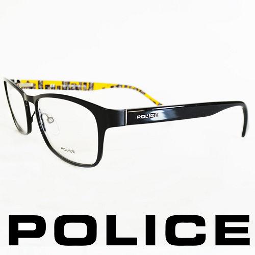 POLICE 義大利警察都會款城市系列眼鏡~金屬框^(黑框黃^) POV8857~0531