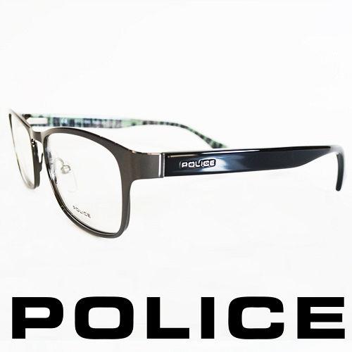 POLICE 義大利警察都會款城市系列眼鏡~金屬框^(銀框亮綠^) POV8857~056