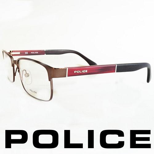 POLICE 義大利警察都會款 型男眼鏡~金屬框^(銀面紅腳^) POV8797~K01X