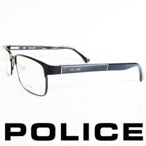 POLICE 義大利警察都會款個性型男眼鏡-金屬框(霧黑框) POV8797-531X