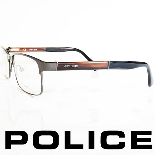 POLICE 義大利警察都會款 型男眼鏡~金屬框^(木頭棕^) POV8797~568X