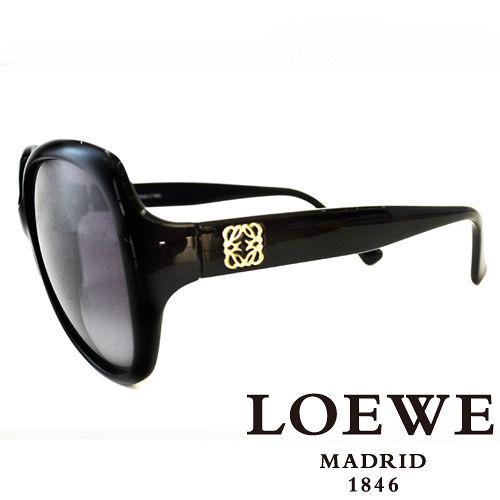 LOEWE 西班牙皇室品牌羅威素面立體LOGO太陽眼鏡^(黑^) SLW775~0Z42
