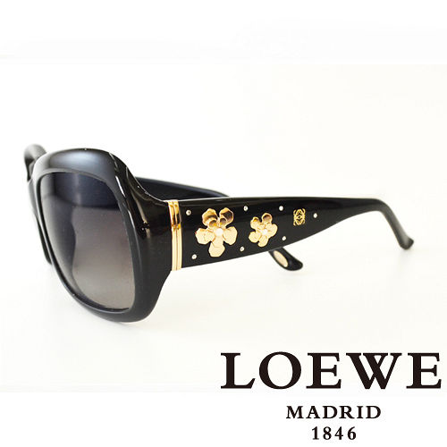 LOEWE 西班牙皇室品牌羅威兩小花高貴太陽眼鏡^(黑^) SLW778~0700