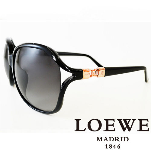 LOEWE 西班牙皇室品牌羅威兩環扣太陽眼鏡^(黑^) SLW785~0Z42