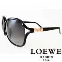 LOEWE 西班牙皇室品牌羅威兩環扣太陽眼鏡(黑) SLW785-0Z42