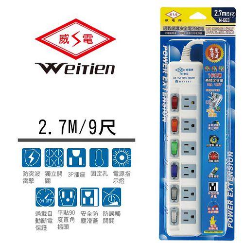 威電牌 3孔6開關6插座電腦延長線 15A 9尺 M-663-9