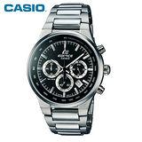 【CASIO】EDIFICE金屬系列 三眼鋼帶計時男錶-黑(EF-500BP-1A)