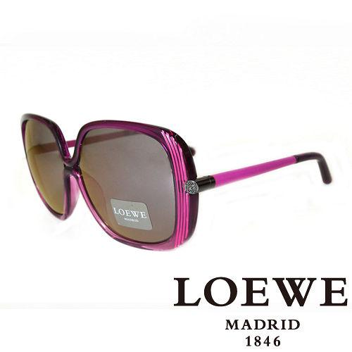 LOEWE 西班牙皇室品牌羅威蝴蝶面皮革腳LOGO太陽眼鏡^(粉^) SLW802~09T