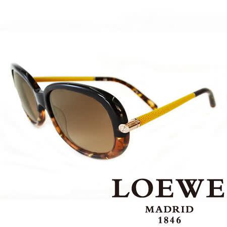 LOEWE 西班牙皇室品牌羅威經典皮革大理石面太陽眼鏡(琥珀) SLW803-0905