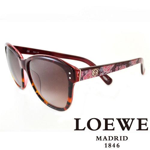 LOEWE 西班牙皇室品牌羅威大理石面奢華花片太陽眼鏡^(紅^) SLW805~09QA