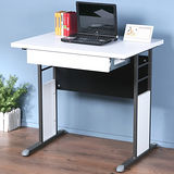 《Homelike》巧思辦公桌 炫灰系列-白色加厚桌面80cm(附抽屜)