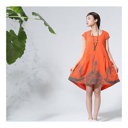 【Maya 名媛】 桔色 (M~XL) 自然棉麻 印象派質感印圖 背面綁帶調整連身洋裝