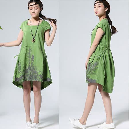 【Maya 名媛】 綠色 (M~XL) 自然棉麻 印象派質感印圖 背面綁帶調整連身洋裝