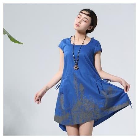 【Maya 名媛】 寶藍色 (M~XL) 自然棉麻 印象派質感印圖 背面綁帶調整連身洋裝
