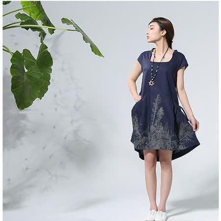 【Maya 名媛】 藏青色 (M~XL) 自然棉麻 印象派質感印圖 背面綁帶調整連身洋裝