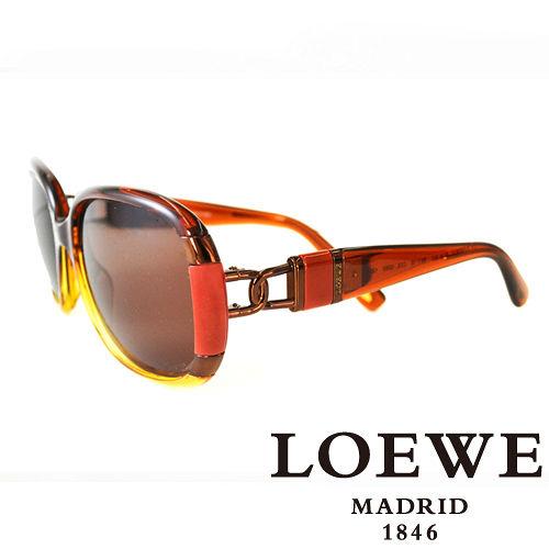 LOEWE 西班牙皇室品牌羅威兩環扣太陽眼鏡^(咖啡^)SLW807~0D92