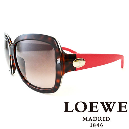 LOEWE 西班牙皇室品牌羅威皮革腳金屬LOGO太陽眼鏡^(豹紋^) SLW774~07R