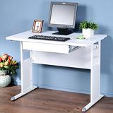 《Homelike》巧思辦公桌 亮白系列-白色加厚桌面100cm(附抽屜)