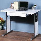 《Homelike》巧思辦公桌 炫灰系列-白色加厚桌面100cm(附抽屜)