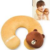 【兌】【LINE FRIENDS】絨毛U型護頸枕(BROWN熊大) (台灣製)
