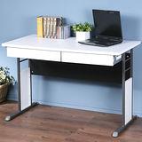 《Homelike》巧思辦公桌 炫灰系列-白色加厚桌面120cm(附二抽屜)