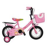 Adagio 12吋大頭妹打氣胎童車附置物籃-粉色
