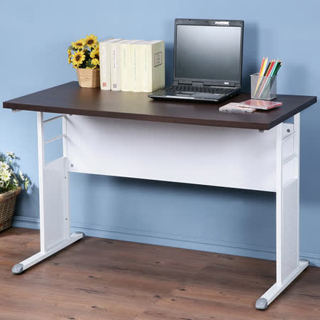 《Homelike》巧思辦公桌 亮白系列-胡桃加厚桌面120cm