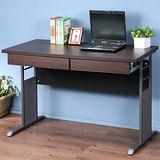 《Homelike》巧思辦公桌 炫灰系列-胡桃加厚桌面120cm(附二抽屜)