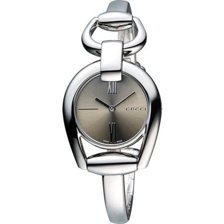 GUCCI Horsebit 羅馬唯美手鍊腕錶-咖啡 YA139501