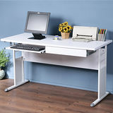 《Homelike》巧思辦公桌 亮白系列-白色加厚桌面140cm(附抽屜+鍵盤架)