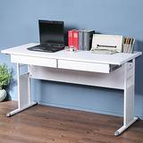 《Homelike》巧思辦公桌 亮白系列-白色加厚桌面140cm(附二抽屜)