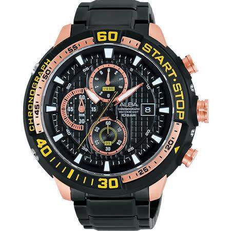 ALBA SignA 疾速奔馳計時腕錶-黑x玫瑰金 VD57-X016K