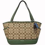 COACH 經典大C織紋雙側袋肩背托特包-綠