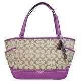 COACH 經典大C織紋雙側袋肩背托特包-紫