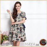 【Maya 名媛】 (M~XL) 自然棉麻料 熱帶大花印款 【藍色】收腰滾邊 連衣裙 洋裝