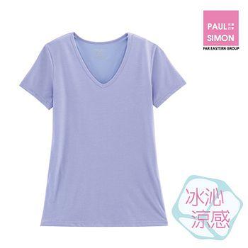 歐風女冰沁涼感V領上衣-薰衣紫