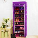 SoEasy 單排10層9格鞋架-紫色