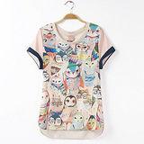 【MIDORI╭。綠】拉夏貓頭鷹印花短袖T恤(FD00125)