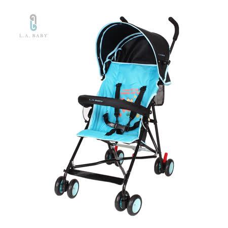 L.A. Baby 美國加州貝比 亮彩輕便嬰兒手推車(藍黑色)