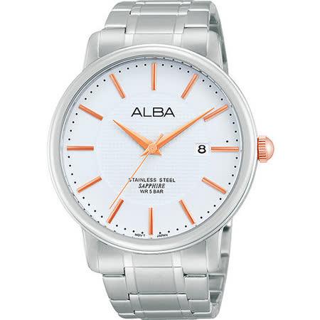 ALBA PRESTIGE 爵士時尚腕錶-銀x玫塊金時標 VJ42-X114S