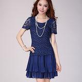 【麗質達人中大碼】2097短袖蕾絲拼接洋裝(藍色)