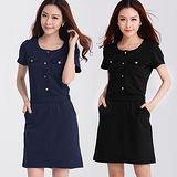 【麗質達人中大碼】3513時尚設計款洋裝(二色)