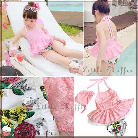韓 蕾絲多層蓬蓬裙三件式洋裝 附泳帽 SUM222