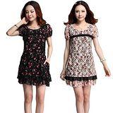 【麗質達人中大碼】3565蕾絲印花洋裝(二色)