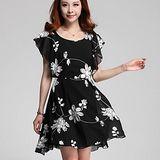 【麗質達人中大碼】3566雪紡印花洋裝(黑色)