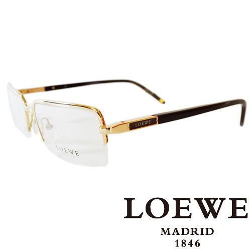 LOEWE 西班牙皇室品牌羅威法瑯質半框正面平光眼鏡^(金^)VLW266~0300