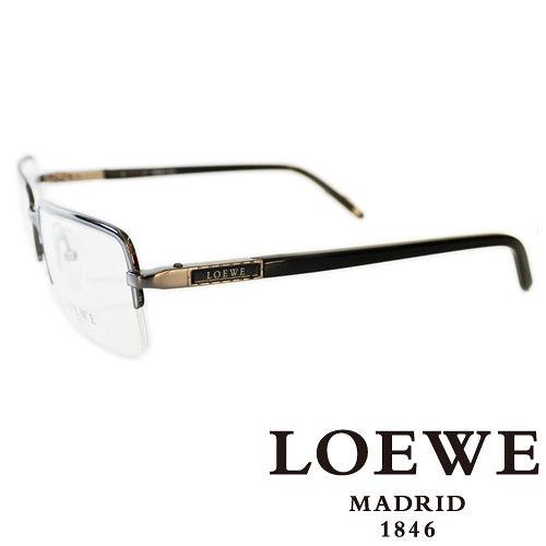 LOEWE 西班牙皇室品牌羅威法瑯質半框正面平光眼鏡^(銀^) VLW266~0568