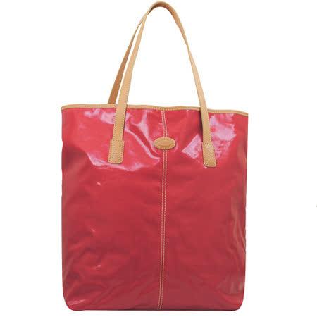 TODS 時尚亮皮帆布皮飾邊直式大購物包.紅