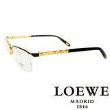 LOEWE 西班牙皇室品牌羅威法瑯質優雅奢華平光眼鏡(黑) VLW395-08FH