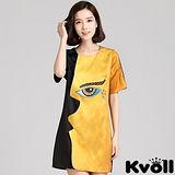 【KVOLL大尺碼】橙色側臉鑲鑽大眼睛連衣裙